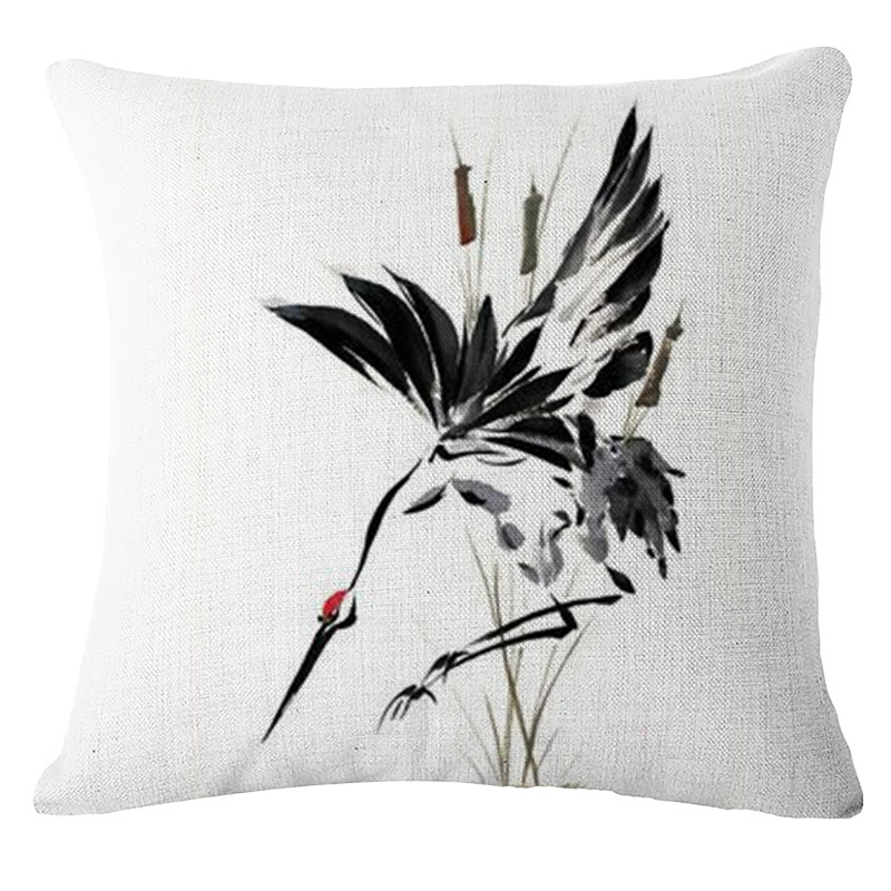 Chinese Style Landscape Red-crowned Crane Painting Printed Bolster Chinoiserie Sofa Cushion Reading Room Living Room Pillows