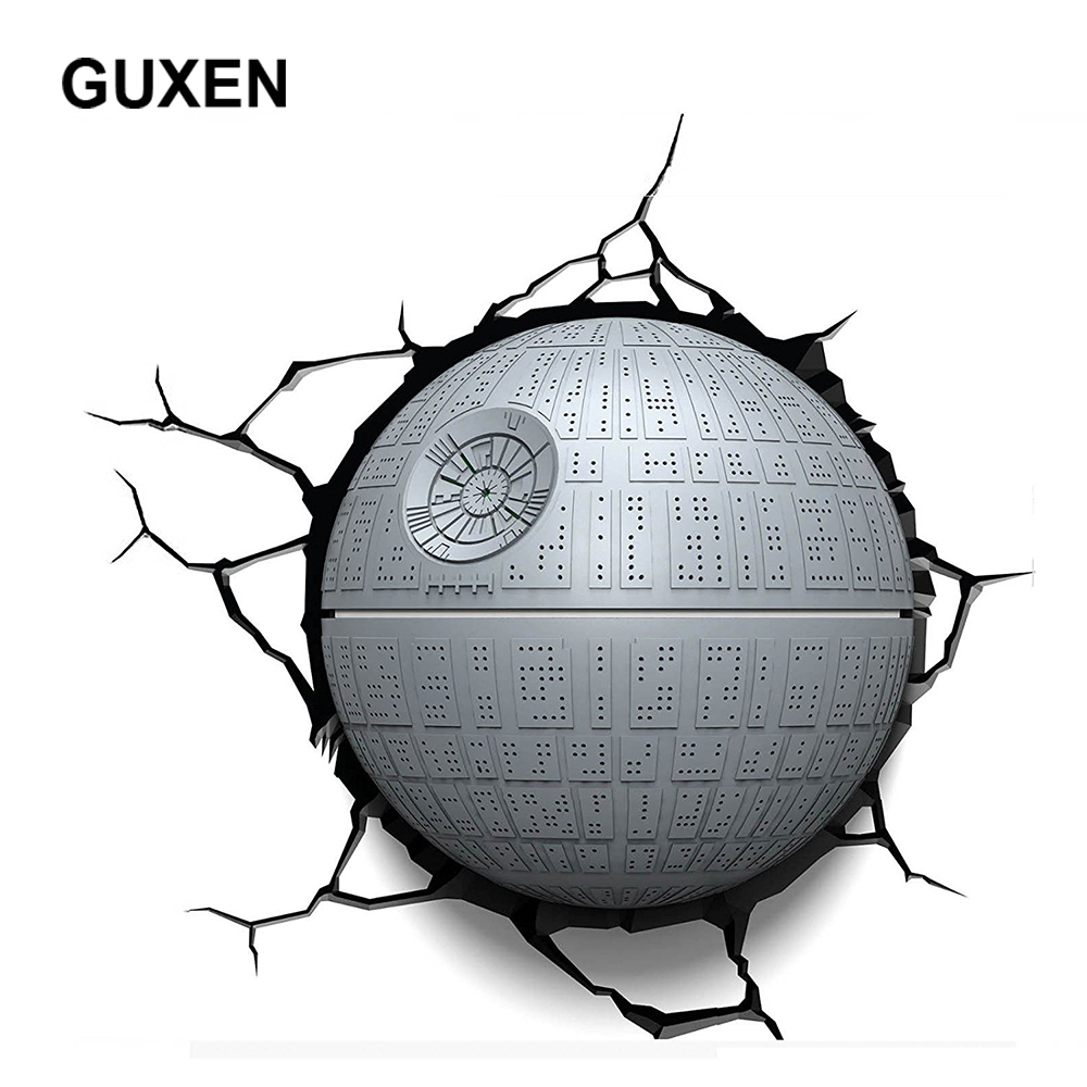 Guxen 3D Deco LED Night Light Star Wars Death Star TOYS Wall Sticker Lamp For Children's Gifts Bedeside luminaire LED Lamp стоимость
