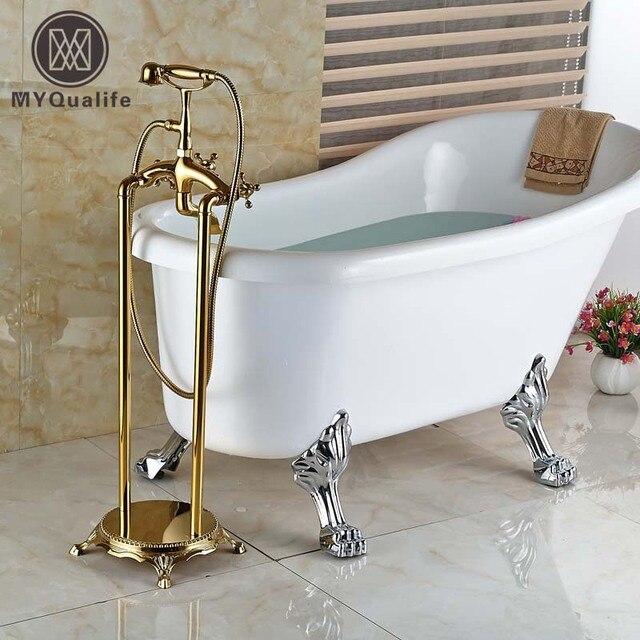 luxus zwei kreuzgriffen goldene bodenmontage badewanne dusche ... - Luxus Badewanne Mit Dusche