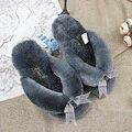 Furry Zapatillas de Casa Las Mujeres de Moda de verano Flip Flop Zapatillas de Piel Real 2017 Señoras Arco Lindo Indoor Slipper 100% Natural de piel de Oveja