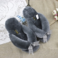 Summer Fashion Furry Home Slippers Women Flip Flops Real Fur Slippers 2017 Ladies Cute Bow Indoor Slipper 100% Natural Sheepskin