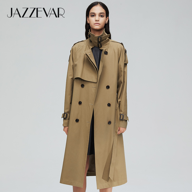 JAZZEVAR Outerwear Trench-Coat Double-Breasted New-Arrival Autumn Long Top for Lady High-Quality