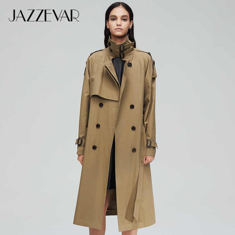 وصل حديثًا معطف خريفي للنساء من jazevar موضة 2019 قميص طويل برسومات مزدوجة للنساء معطف عالي الجودة للنساء 9003