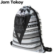 Hakuna matata Women geometric font b Backpack b font 3D printing travel softback women mochila drawstring