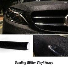 size:1.52x30m(5x98FT ) Car Styling Glitter Vinyl Film for car vinyl wrapping black Matt Sanding glitter vinyl wrap wholesale