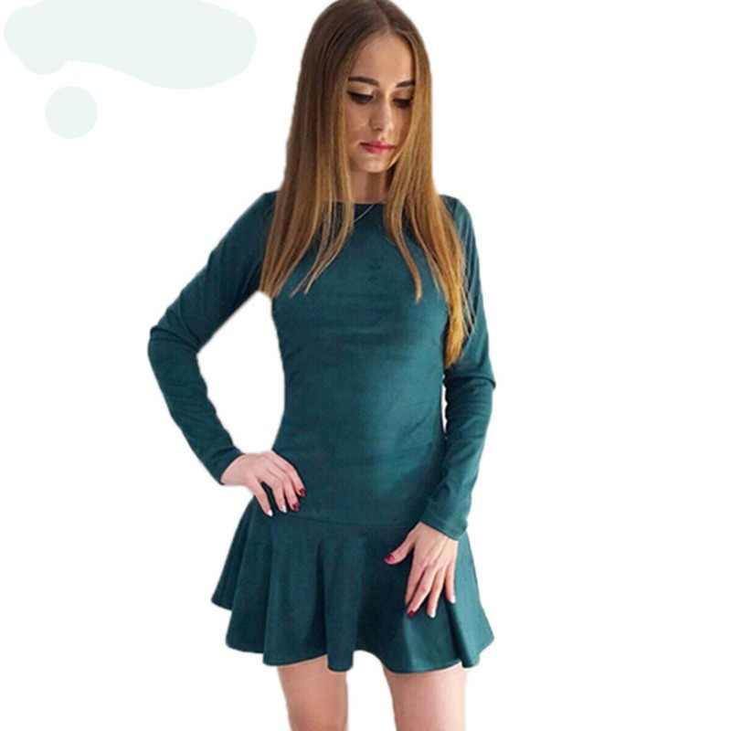 9e2d2b8e4bd Detail Feedback Questions about IYAEGE Women Dress 2018 Spring Elastic  Suede Short Dress Women Sexy Long Sleeve Ruffles Mini Party Dress Robe  Vestidos XXL ...