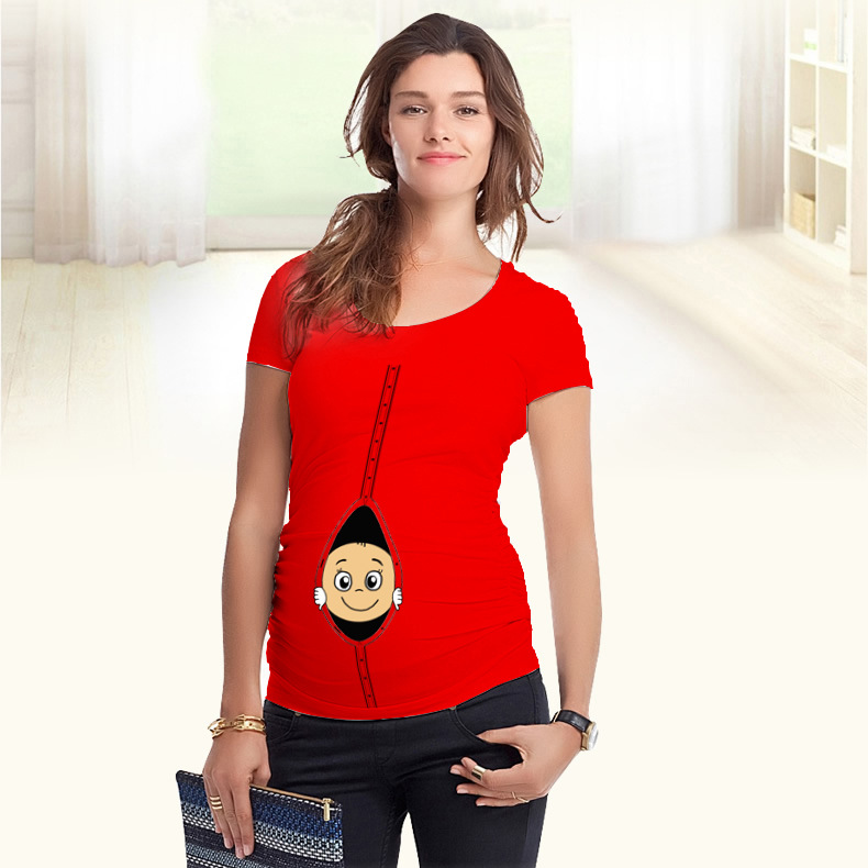 dd12678af Europeos más tamaño embarazo ropa casual Funny impreso mujeres embarazadas  ropa Maternidad Camisetas Tees creativo algodón camiseta en Camisetas de La  ropa ...