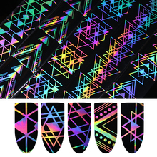 Holographic Nail Foil Laser Paper Geometric Triangle Wave Heart Net Nail Art Transfer Sticker 4*100cm Nail Art Decoratation DIY