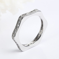 New Hexagon Shape Thin Band Rings Midi Ring Fancy Slim Design Cubic Zirconia Stone Clear Size 5 to 9 Women Stacking Wedding Band