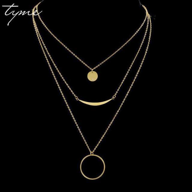 check-out 2330f da393 € 12.63 |TYME mode Long Tube en acier inoxydable collier ras du cou collier  trois titane acier cercle couche pile chaîne collier femmes dans Pendentif  ...