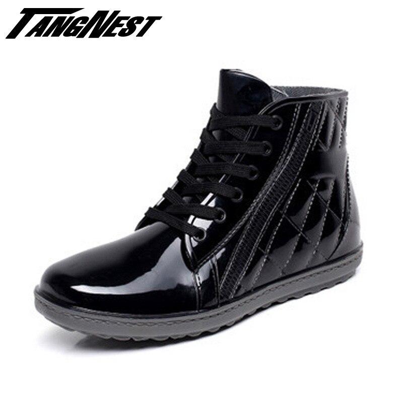 Tangnest Men Rain Boots Lace Up Summer Autumn Waterproof Soft Rubber Ankle Men Boots Fashion Zip