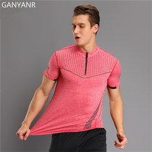 Фотография GANYANR Brand Running T Shirt Men Compression Tights Spandex Sport Dry Fit Short Sleeve Fitness Athletic Sportswear Gym Training