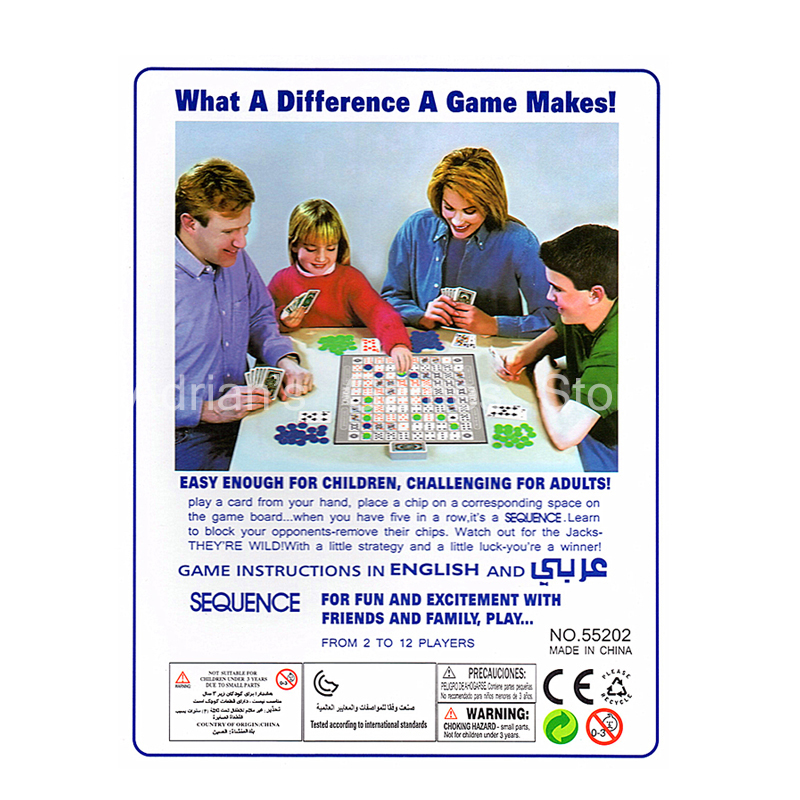 Image 2 - Sequence Games Children Challenging Sequence Board Game 104 Cards 2 12 Players Family Game English Versionsequence board gamesequence gameboard game -