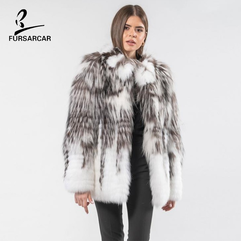FURSARCAR 2019 New Brown White Natural Silver Fox Fur Coat For Women Winter Genuine Real Fur Coats For Female Fashion Fur Jacket
