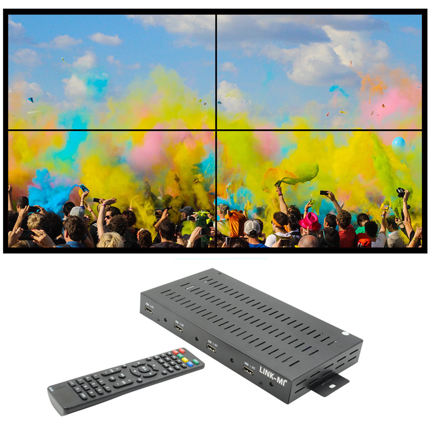 LINK-MI TV04H Video Wall Controller 2x2 4 Channel HDMI+DVI+VGA+CVBS+ATV+USB four images stitching Splicing processor 3D 1080P youtoing yt box4x4 lcd video wall controller hdmi vga av usb processor 4x4 nine images stitching image processor 16tv 1080p