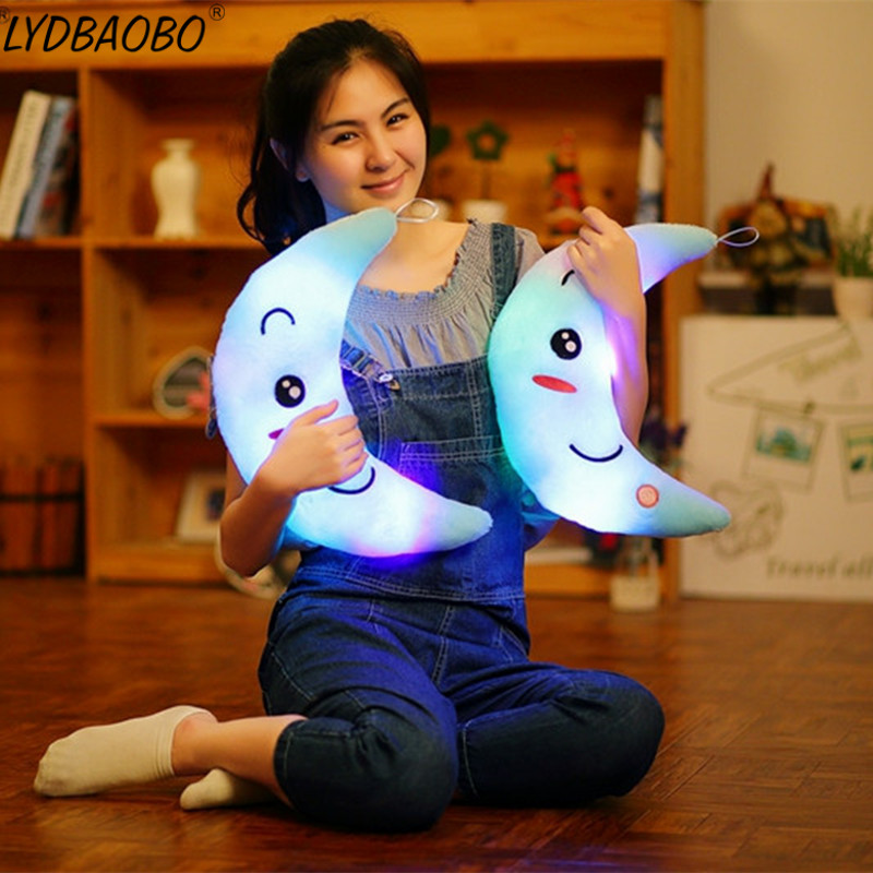 LYDBAOBO 1PC 35CM Lovely Moon Electrified luminescence Light Plush Doll Stuffed Kawaii Soft Pillow Kids Toys Baby Birthday Gifts