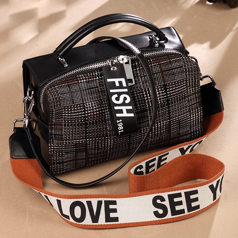 Fashion Women Handbags Genuine Leather Letters Strap Shoulder Bag Plaid Top-handle Bag Tote Crossbody Bag Soft Phone Pocket Flap