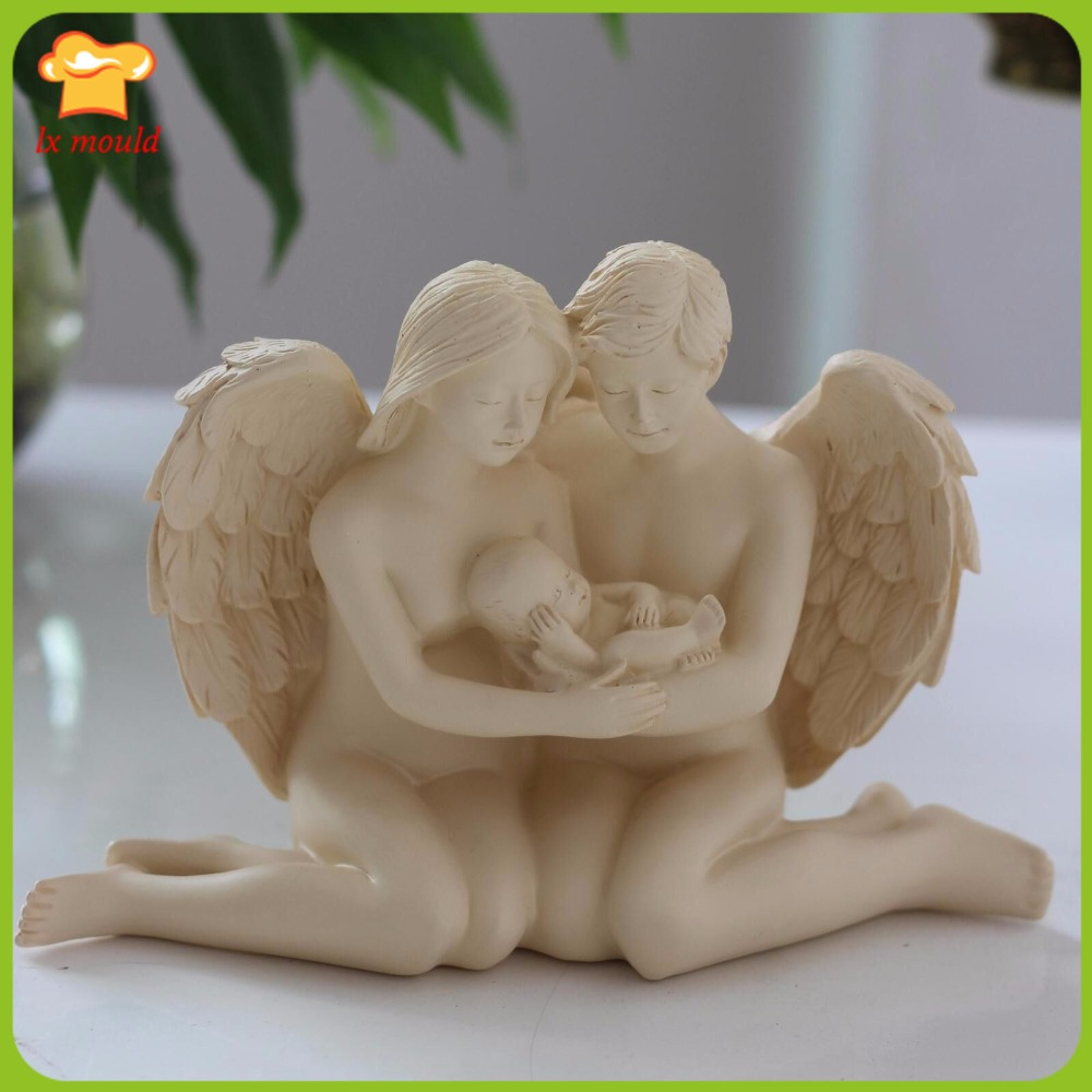 2016 New Angel couples children candle mould Men and women lovers child festival household candles adornment silicone mold