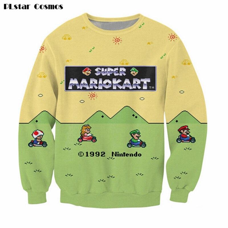 PLstar Cosmos Women Men cartoon Sweatshirt 3D Print letters Super Mario Kart Hoodies Hip Hop Casual loose 3d pullover hoodies ...