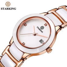 STARKING Ceramic Dress Women Watch Japan Imports Quartz Movement Watches Luxury Rose Gold Ladies Wristwatches Relogio Feminino