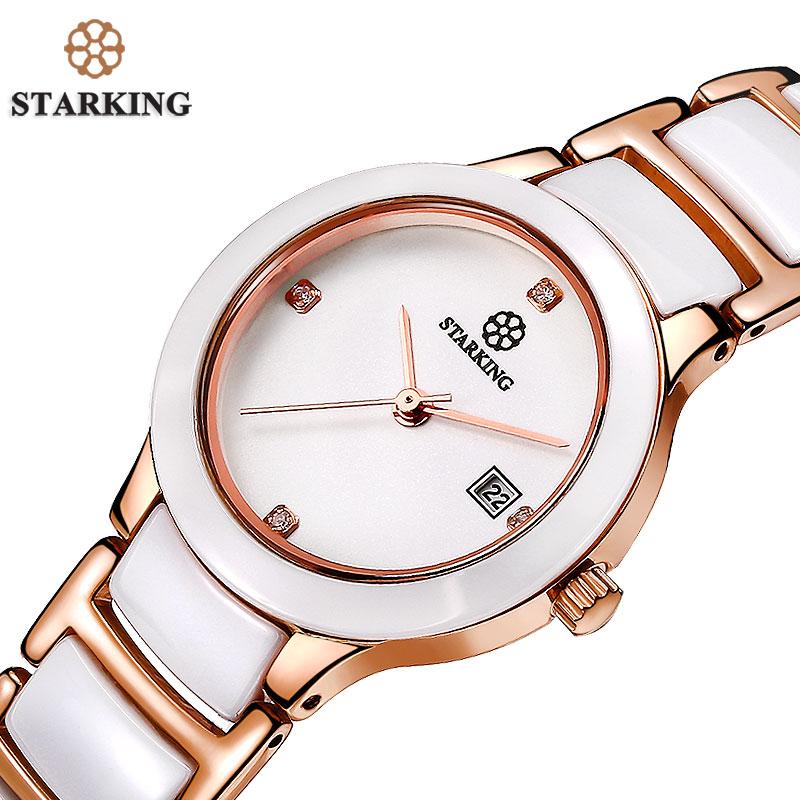 Prix pour Starking en céramique robe femmes montre japon importe mouvement à quartz montres de luxe or rose dames montres relogio feminino