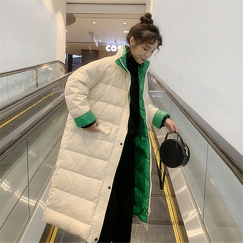 2019 New Light   Down   Jacket Women Medium Long Fashion Outerwear Winter Female Stitching Color Casual White Duck   Down     Coats   TTT180
