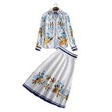 autumn fashion desginer brand skirt two pieces sets long sleeve women's shirt and midi skirt blue floral print plaid blouses set
