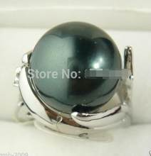 Women's Fashion 14MM Genuine Black South Sea Mother of Pearl Size Jewelry Ring 6, 7,8, 9,10>>>Free shipping(China)
