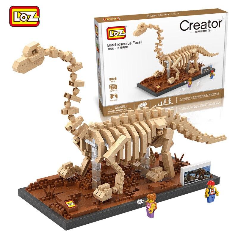 Mini Blocks Jurassic World Brachiosaurus Fossil Skull Diamond Building Bricks Compatible Legoings Dinosaur Toys LOZ 9028 loz 9402 transformation optimusprime diamond bricks minifigures building block best legoelieds toys