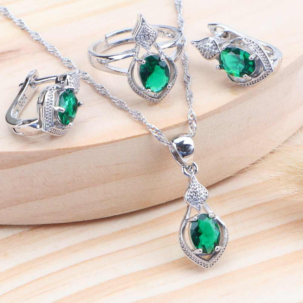 Bridal 5 Color Zircon 925 Sterling Silver Women Jewelry Sets Wedding Costume Kids Jewelry Ring Earrings Necklace Set Jewellery
