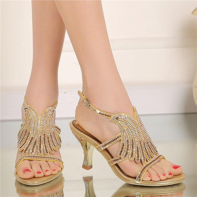 d8915a42b5a5 Casual Shoes Summer 2017 Hollow Diamond Flower Fashion High-heeled Open Toe  Gold Stiletto Sandals Women
