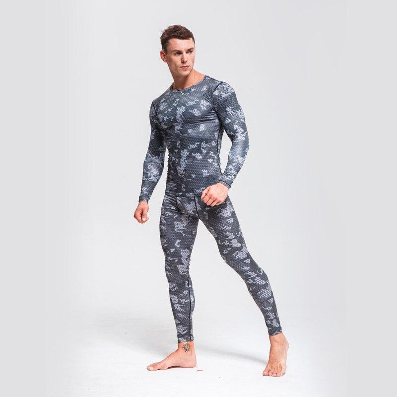 2018 Neue Rashguard Compression Getriebe Sportswear Anzüge Männer Fitness Langarm T Shirt Trainingsanzug Strumpfhosen Mma Kompression Shirts Elegant Im Stil Herren-sets