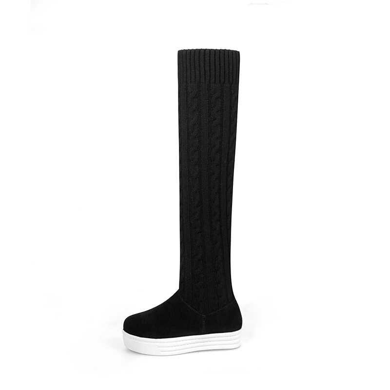 WETKISS Kış Streç Kadın Çizmeler Sivri Burun Örgü Düz Ayakkabı Diz Kız Çizme Asansör platform ayakkabılar Kadın
