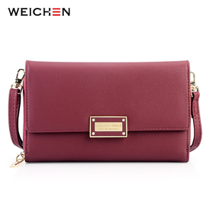 Image 1 - WEICHEN Brand New Multi functiona Ladies Shoulder Bag & Clutch Big Capacity Leather Female Wallet Purses Messenger Bag Women NEW