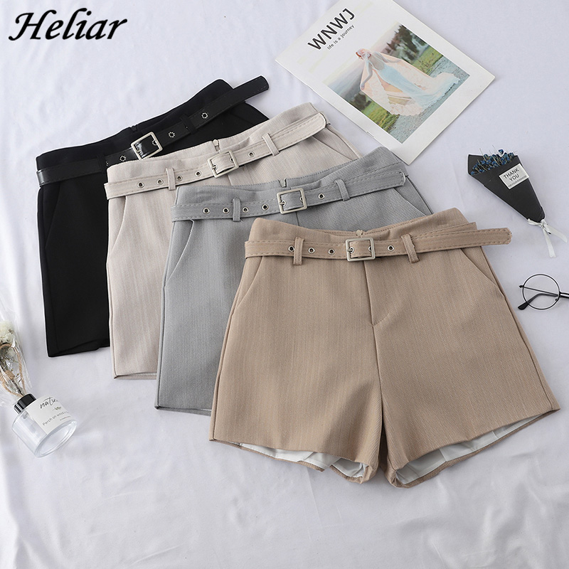HELIAR 2019 Spring Women High Waist Shorts Casual Western Style Straight Outwear Suit Shorts Women Short Pants With Sashes