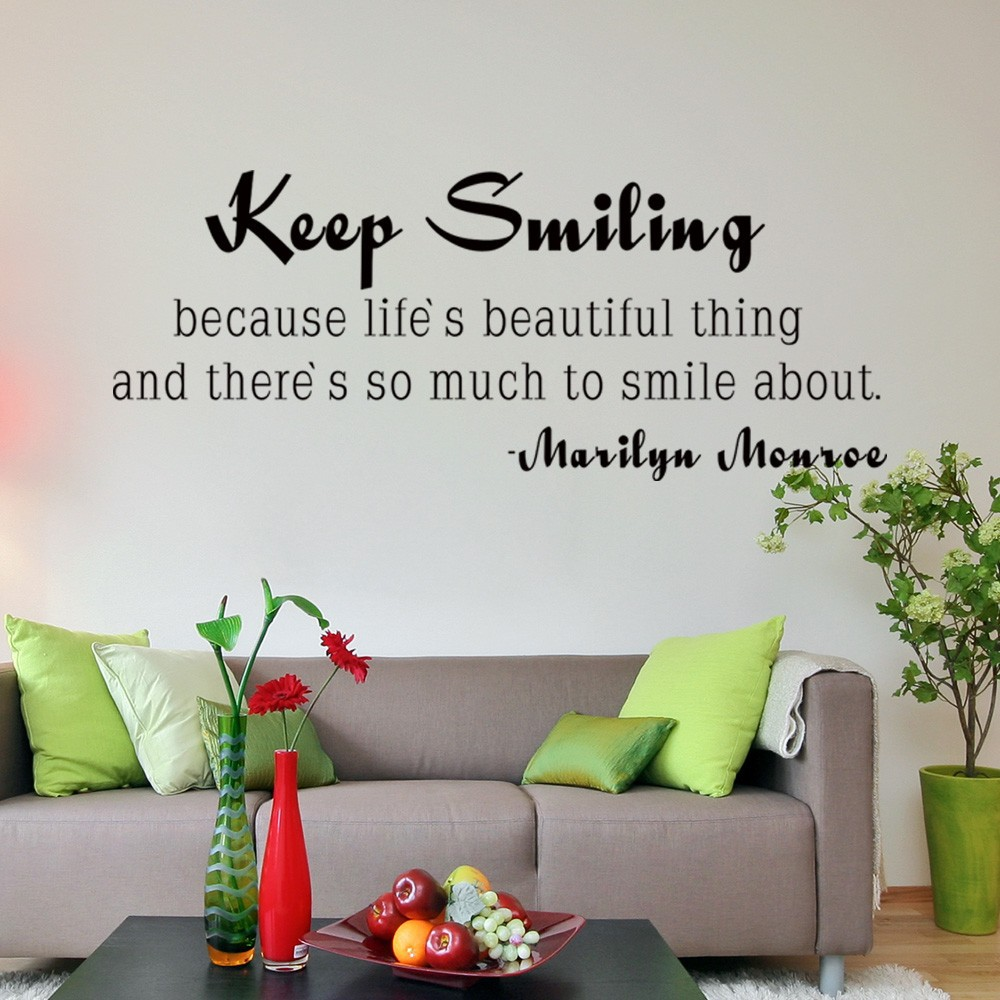 Life Wall Quotes Marilyn Monroe Quote Keep Smiling Inspirational Life Wall Quotes