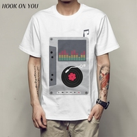 New Arrival Men S Fashion Music Tape Design T Shirt Cool Tops Short Sleeve Hipster Tees