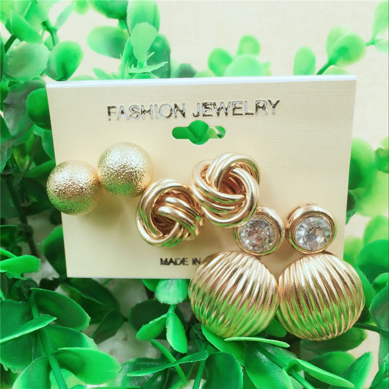 3 Pairs Punk Style Large Earring Set Gold Classic Ball Stud Earrings Set For Fashion Girls Gift Fashion Jewelry Accessories