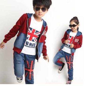 3 Pcs 2018 Fall Boys Girls Fashion Denim Splicing Clothes Set Kid Casual Hooded Coat Long Sleeve T Shirt Pants Sweater Suit G56