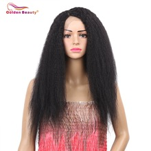 Golden Beauty 24inch Lång Kinky Straight Hair Side Part Lace Front Wig Svart Syntetisk Paryk För Svart Kvinnor