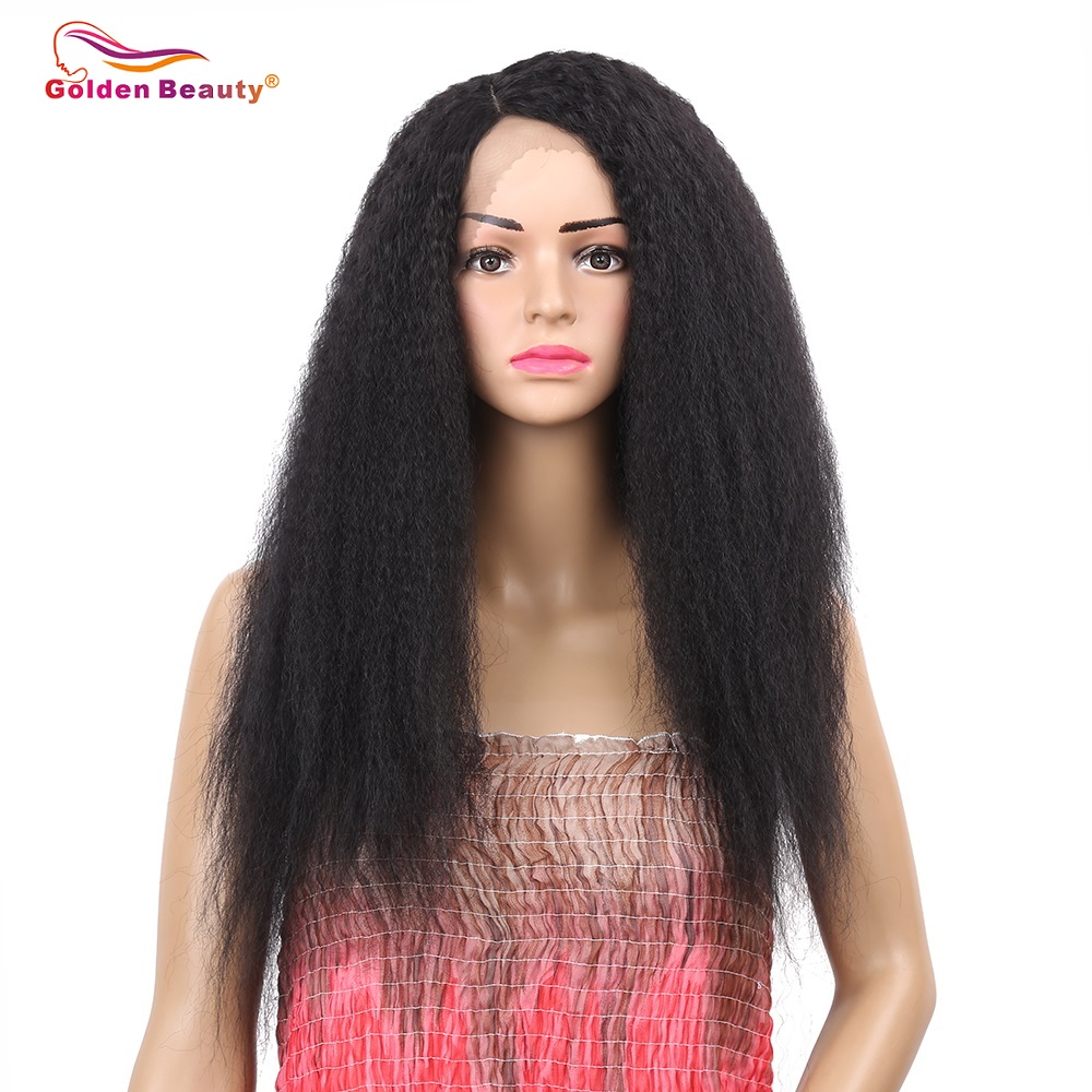 Golden Beauty 24inch Long Kinky Straight Wig Heat Resistant Synthetic Lace Front Wigs for Women Side Part Black Wig
