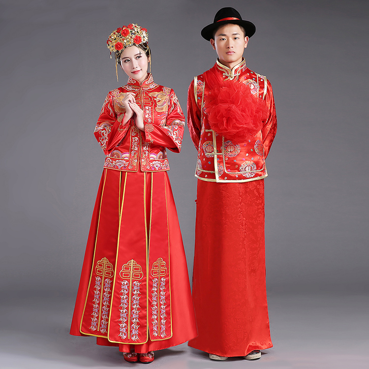 ZZB015  Chinese Couple Style Wedding Groom Tunic Red Dress Long Robe Gown Traditional Chinese Wedding Dress Tang Suit