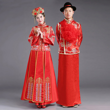 ZZB015  Chinese Couple Style Wedding Groom Tunic Red Dress Long Robe Gown Traditional Tang Suit