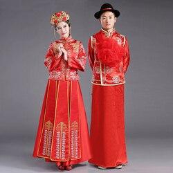ZZB015 Chinesischen Paar Stil Hochzeit Bräutigam Tunika Roten Kleid Lange Robe Kleid Traditionelle Chinesische Hochzeitskleid Tang-anzug