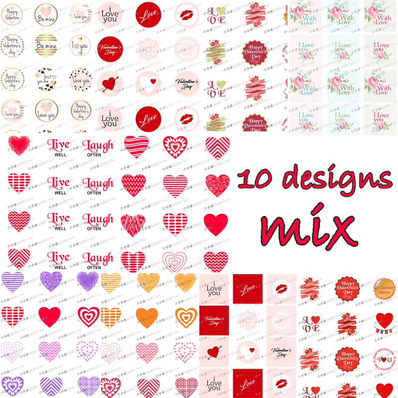 Mix Heart Shape Pattern Sugar Stamp Transfer Paper For Valentine's Day Wedding Chocolate Decoration Sheet Cake Decorating Tools