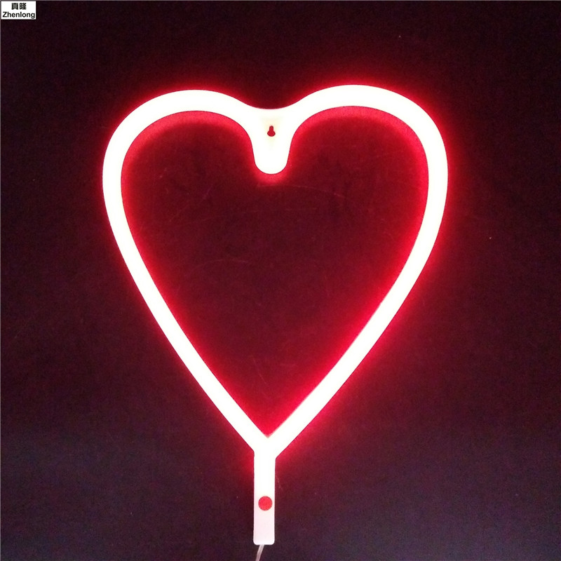 Us 15 84 34 Off Love Heart Neon Light Sign Christmas Decorations For Home Decor Neon Party Supplies Decorative Plates Led In Lighting Strings From
