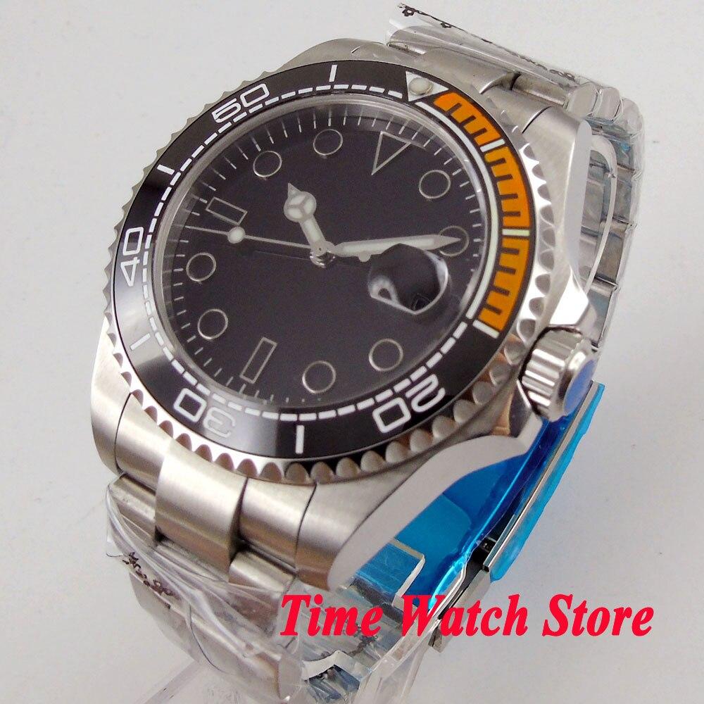Solid 43mm men's watch black dial luminous saphire glass Ceramic Bezel MIYOTA Automatic movement wrist watch men 106