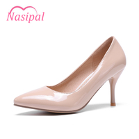 Nasipal Patent Shoes Woman High Heels Pumps Red High Heels 8CM Women Shoes Wedding Shoes Pumps