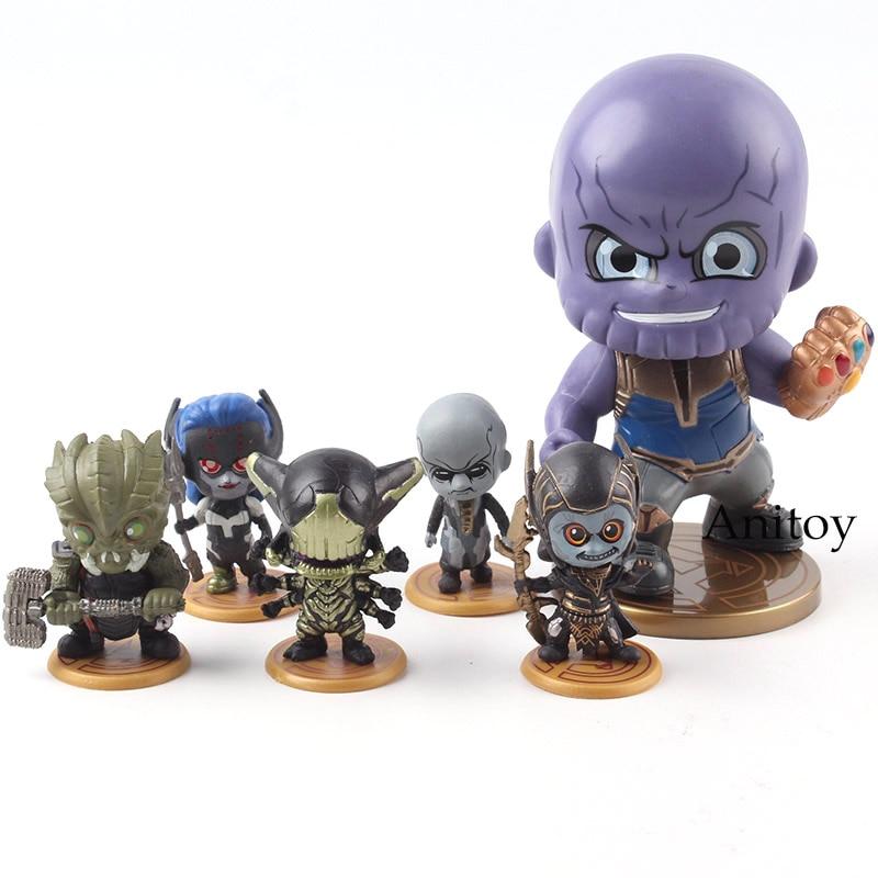 Avengers Infinity War Thanos Corvus Glaive Proxima Midnight Ebony Maw Black Dwarf Supergiant Marvel Action Figures Toys 6pcs/set