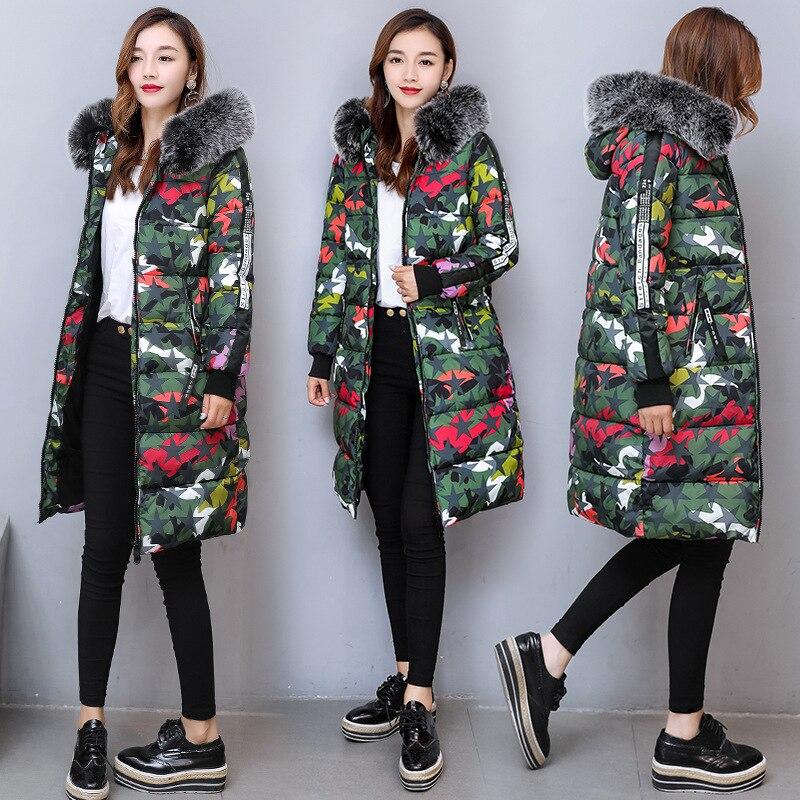 Winter Women Coat Hooded Women Fur Collar Medium-long Down Cotton-padded Jacket Long Sleeve Medium Long Warm Coat Y411